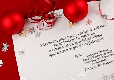Życzenia świąteczne Zastępcy Prezesa Agencji Restrukturyzacji i Modernizacji Rolnictwa