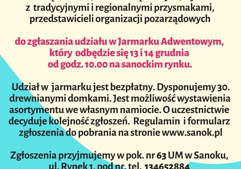 Sanok: Zaproszenie na Jarmark Adwentowy
