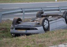 Leżajsk: Samochód dachował na obwodnicy miasta